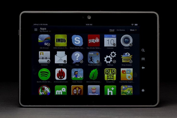 Kindle Fire HDX front app grid