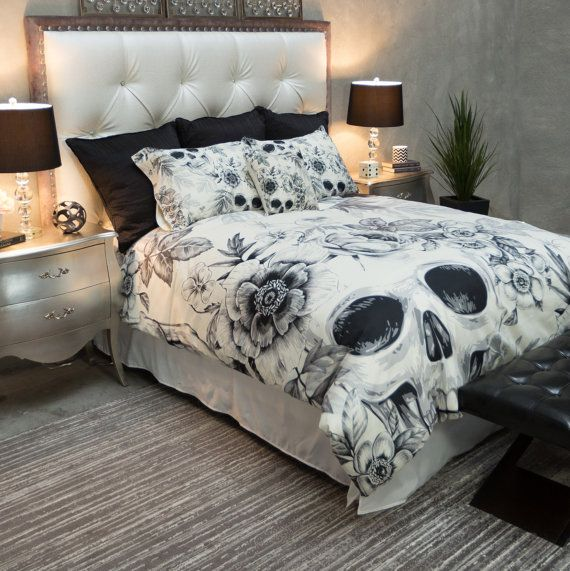 Featherweight Skull Bedding -  Black Floral Printed on Cream - Comforter Cover - Sugar Skull Duvet Cover, Sugar Skull Bedding Set