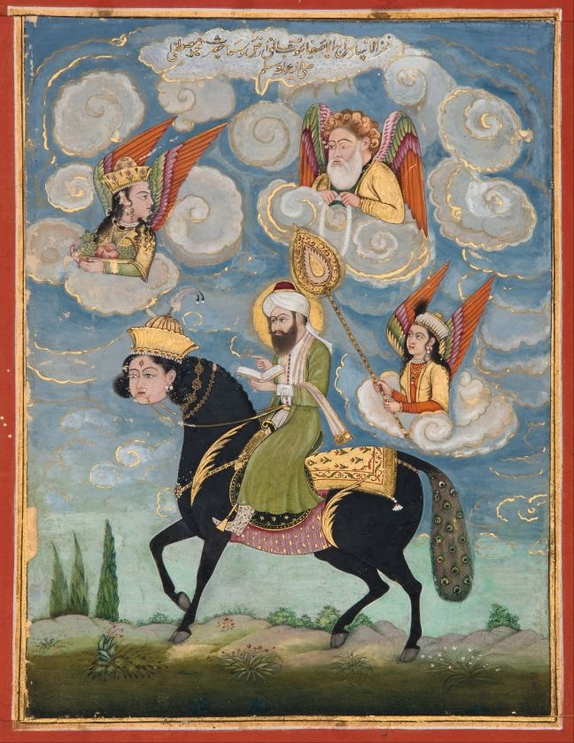 The Prophet Muhammad on horseback. Unknown painting dating from the 18th century, gouache and gold leaf on paper, 17,7 x 10,9 cm.