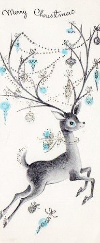 This little vintage Christmas deer makes me want to party like it's 1955.  (a little different than the Prince version)