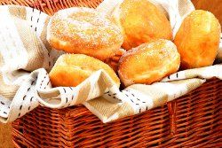 Yeast donuts - fill with cream, jam or custard - frost or roll in powdered sugar or granulated sugar