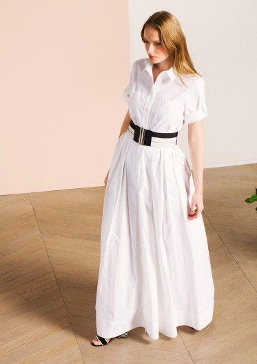 Robe chemise longue en coton blanc