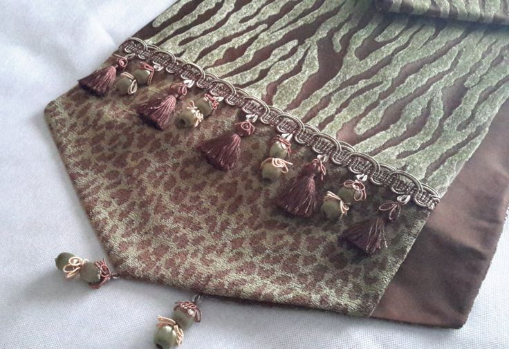 "Table Runner - Brown/Green Animal Print - Size 14 "" X 74"" by CVDesigns on Etsy"