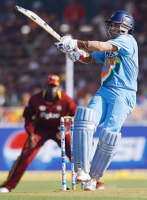 Sourav Ganguly playing against WI.