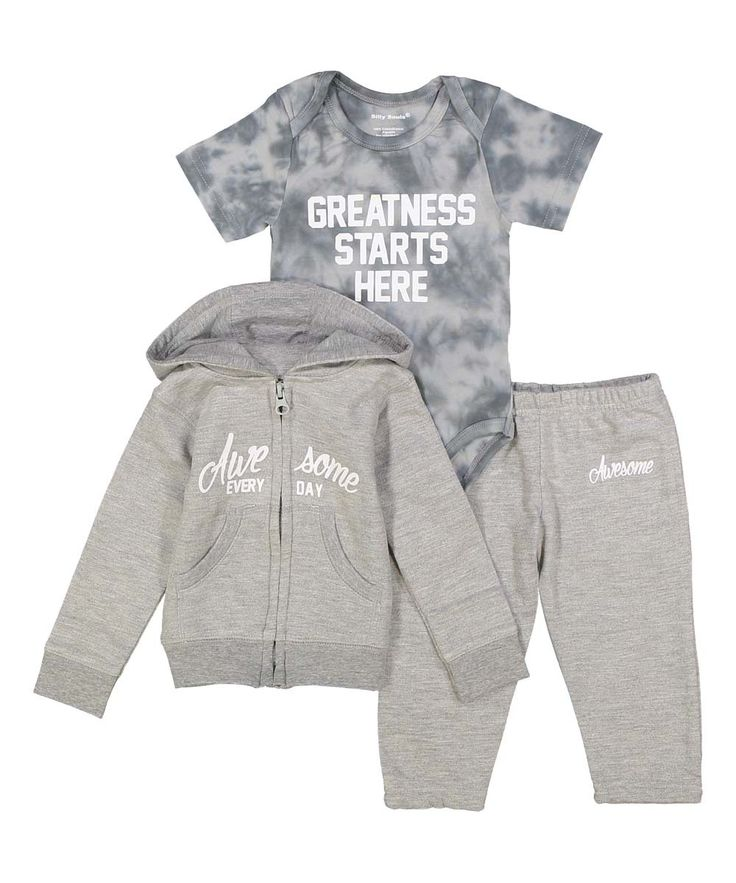 Greatness starts here, infant sweat suit and onesie in grey and white - Silly…