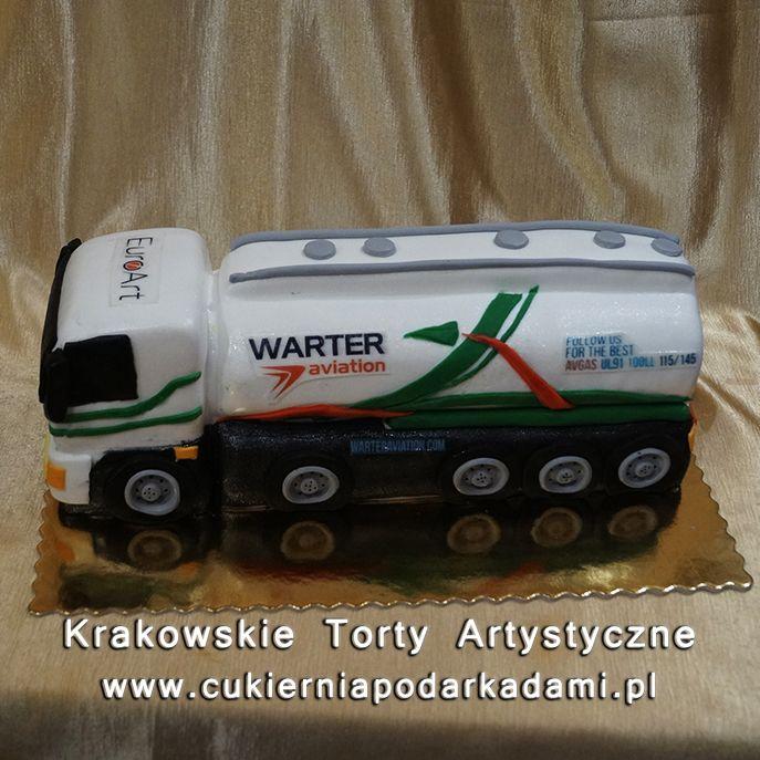128. Przestrzenny tort w kształcie cysterny. Tank truck cake.