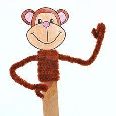 Monkey Stick Puppet. Any monkey stories for #storytime?