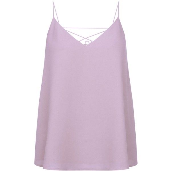 Lilac Cross Strap Back Cami Top ($12) ❤ liked on Polyvore featuring tops, pink tank, pink top, cami tank tops, camisole tank top and pink tank top