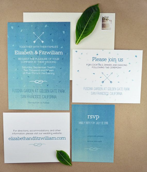 A beautiful DIY printable wedding invitation suite in an aqua blue ombre, great for summer and beach weddings. Features arrow and knot motifs.