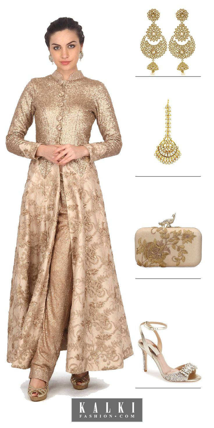Sparkle on every angle with this glittering gold anarkali suit with a slit top. The flare of the anarkali is rich sequin on beige net paired with glittering bottoms like its top. Glamorize it up with elegant maang tika and intricately decorated earrings. Add on a golden embroidered beige clutch with sparkling sandals. This is the exquisite reception suit anyone could never get enough of.