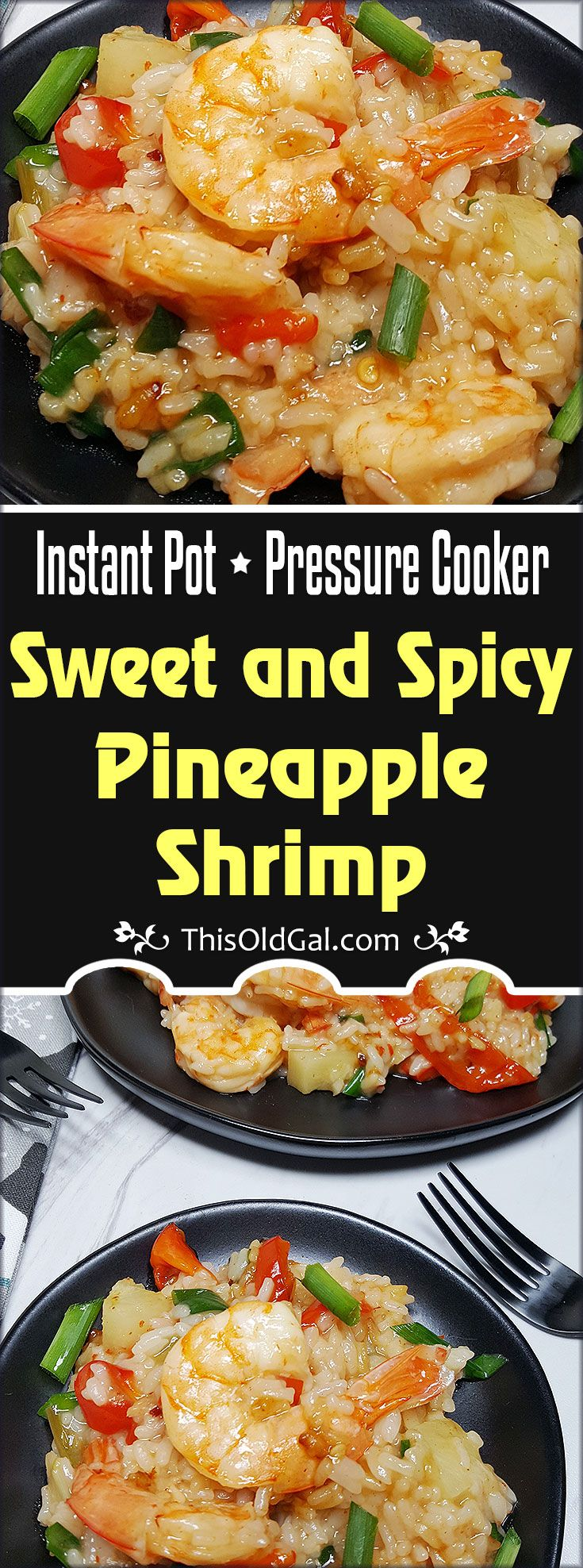 The beauty of this Pressure Cooker Sweet and Spicy Pineapple Shrimp recipe is that you can turn it into a Risotto or Rice dish, or, use Quinoa for a higher protein, lower carb meal! via @thisoldgalcooks