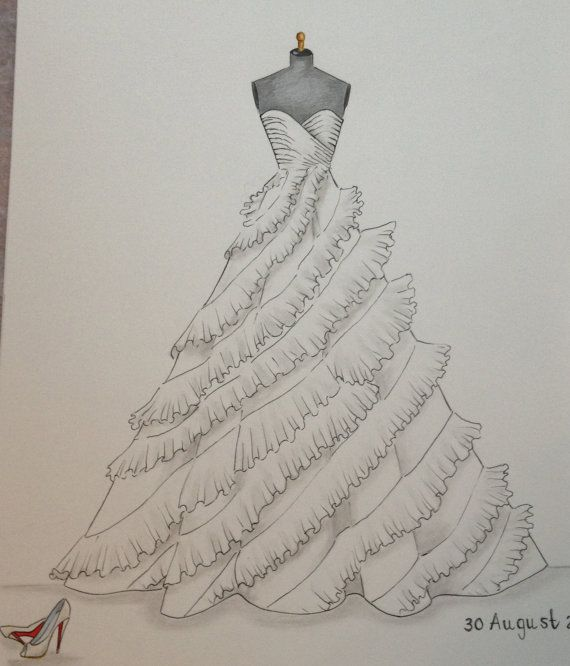 Custom wedding dress sketch wedding gown illustration by Zoia, $55.00