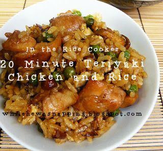 """20 Minute Teriyaki Chicken & Rice. """"..I use frozen peas (or sometimes a peas & carrots mix) and scramble egg in the microwave if I'm going for a little more main dish than side dish.  Just put the frozen veggies in the rice cooker or you can steam them separately.  It stretches the meal further and makes it more filling."""" from While He Was Napping"""