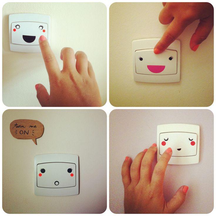 Interrupteurs souriants avec des gomettes
