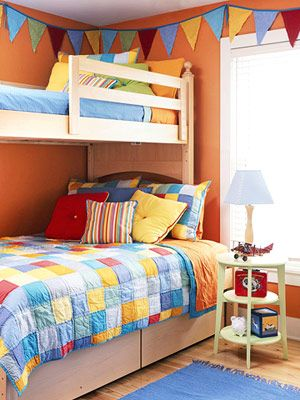 Love the colors.  Twin over bunk bed
