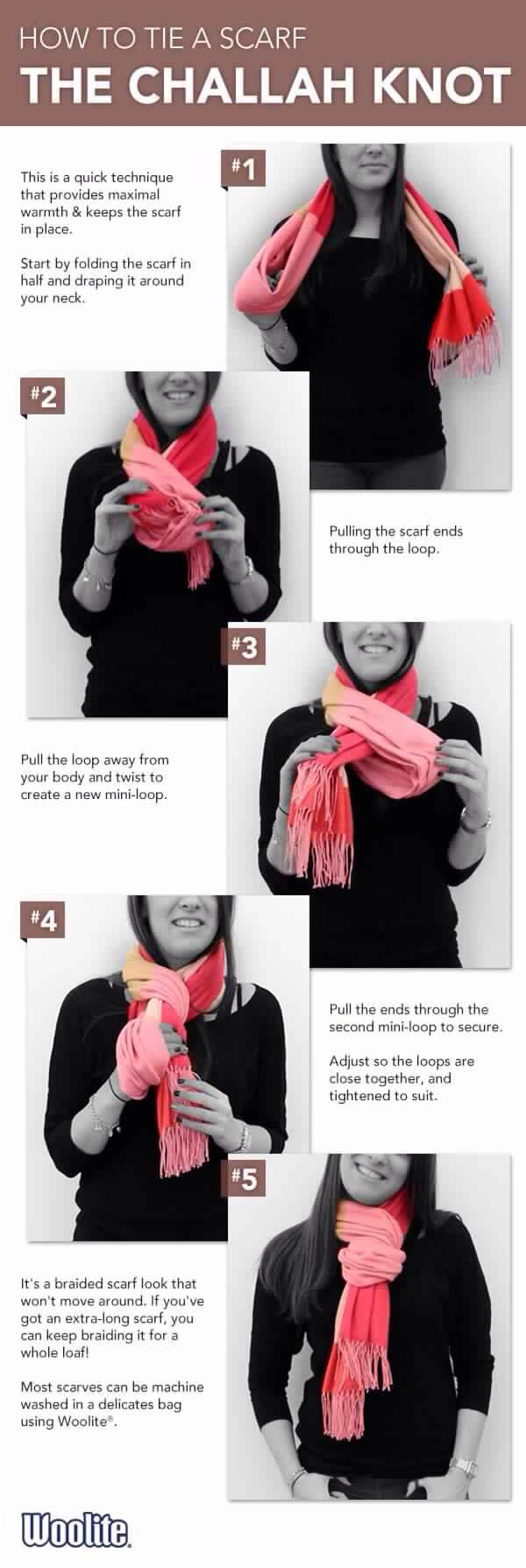 do the twist loop thing but pull both ends of the scarf through each time instead of only one