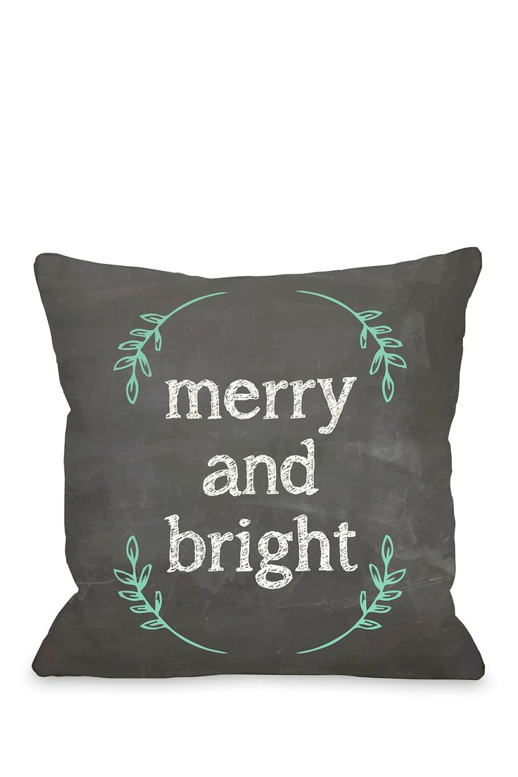 Merry and Bright Chalkboard Pillow with Zipper