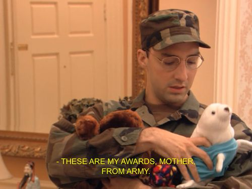"""These are my awards, Mother. From army."" I tell people my stuffed animals are from Hero Squad far too often."