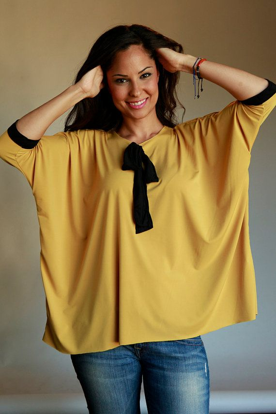 Mustard Yellow Slouchy Top loose fit with black by VARTANIDESIGNS, $22.00