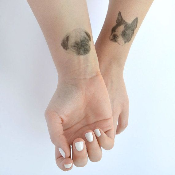 temporary tattoos - set of 3 fake dog tatts - puppy tattoo - pug - sausage - frenchie - THREE on Etsy, $9.36