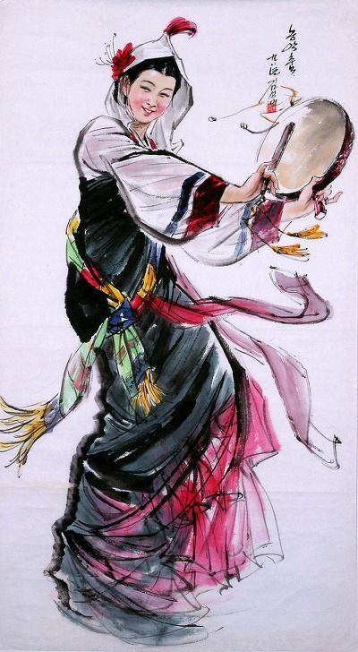 (North Korea) Farm music Dance by Kim Seong-min (1949- ). Korean traditional dance. Korean brush watercolor on paper.