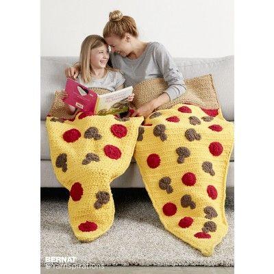 Pizza Party Crochet Snuggle Sack   Bernat   New Pattern   Slumber Party   Free Pattern  