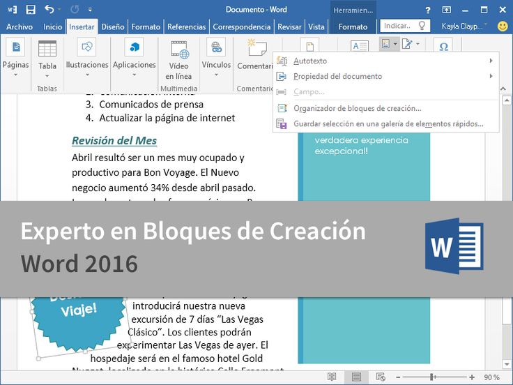 Cursos Gratis - Microsoft Word 2016 - Experto en Bloques de Creación en 2 Minutos.