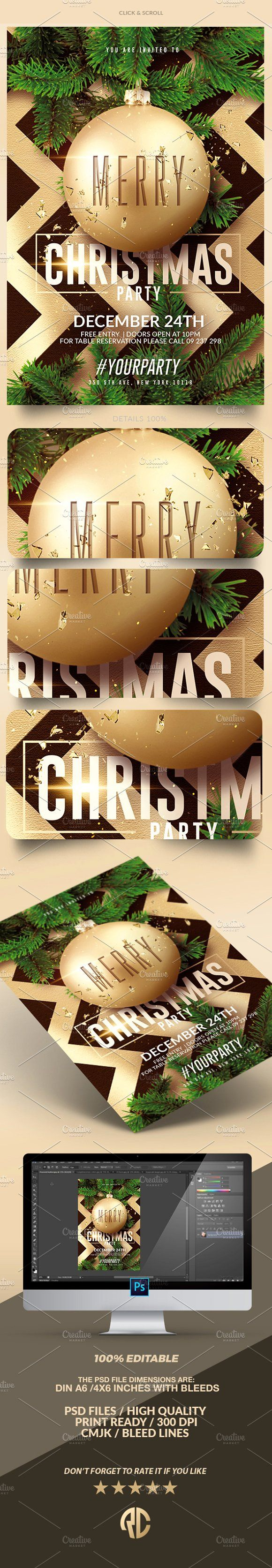 Need new Flyer Templates? Check out Christmas - Flyer Template by @romecreation on @CreativeMarket https://crmrkt.com/v17JM   #christmas #flyer #party #template