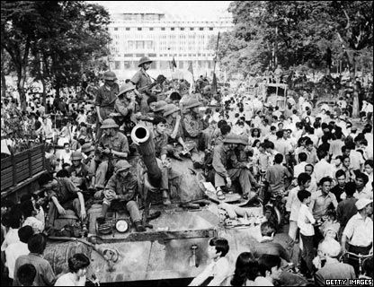 On 30 April 1975 soldiers of the North Vietnamese Army entered Saigon, in the south of Vietnam, capturing the presidential palace and assuming control of the country. The last remaining American millitary scrambled to safety from their embassy roof. Many of those who worked closely with the US feared for their lives, but many more flooded the streets to see the tanks take up their positions.