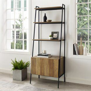 Industrial Ladder Shelf 5 Tier Wood Wall Mounted Bookcase Etsy In 2021 Modern Shelving Wall Mounted Bookshelves Ladder Bookcase