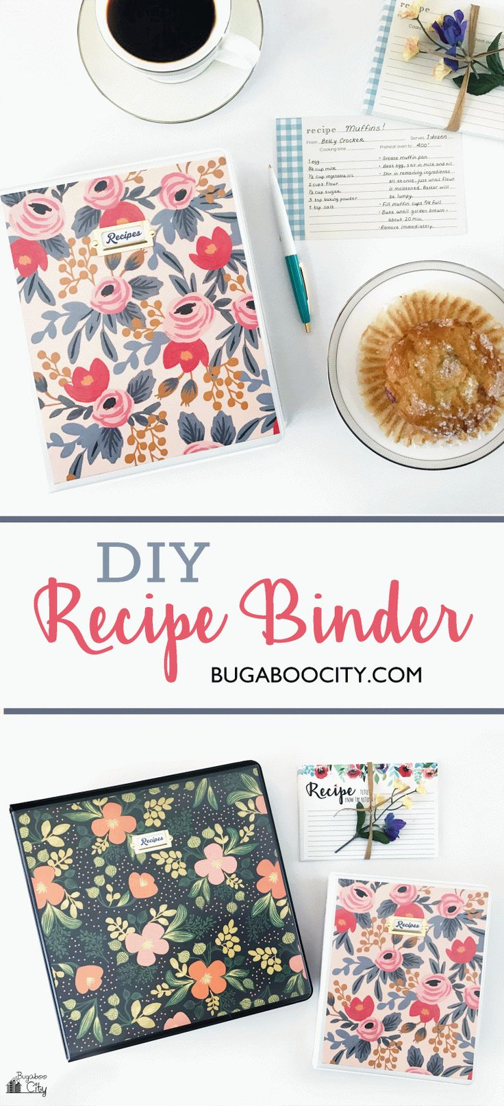 DIY Recipe Binder using Rifle Paper Co. wrapping paper sheets!