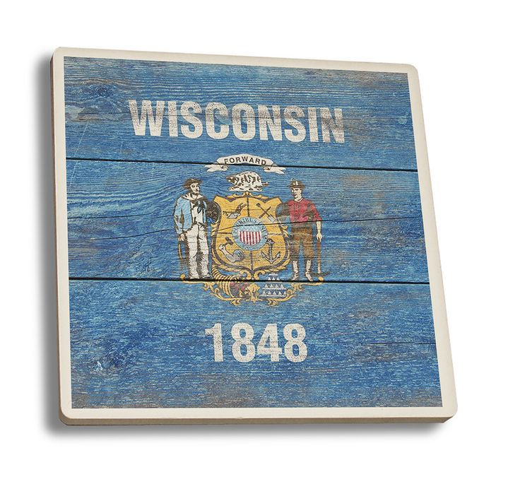 Coaster (Wisconsin Flag - Barnwood Painting - Lantern Press Artwork)