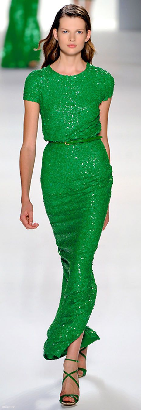 It is a very vibrant green but the cut and silhouette is clean and chic. In a neutral shade, could be a good bridesmaid gown.