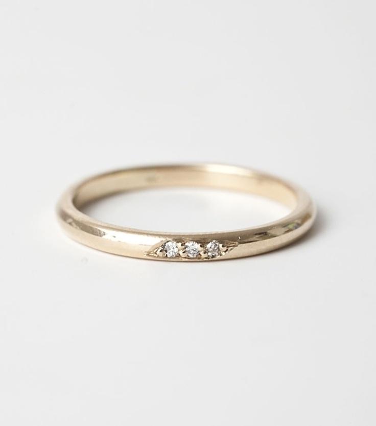 blanca monros gomez - half round band - three diamonds $550 (available in rose gold) -