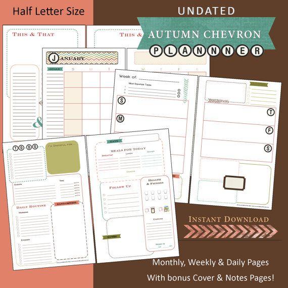 Weekly Undated Calendar Template : Monthly weekly daily printable undated calendar planner
