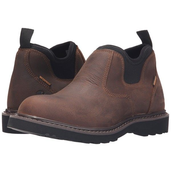 Carhartt Waterproof Romeo (Bison Brown) Women's Slip on  Shoes ($125) ❤ liked on Polyvore featuring shoes, stretchy shoes, fleece-lined shoes, carhartt, carhartt shoes and water proof shoes