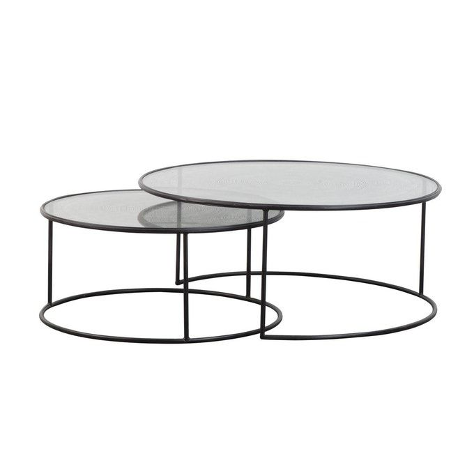 Table Basse Industrielle Gigogne Ronde Plateau Verre En 2020 Table Basse Industrielle Table Basse Plateau En Verre