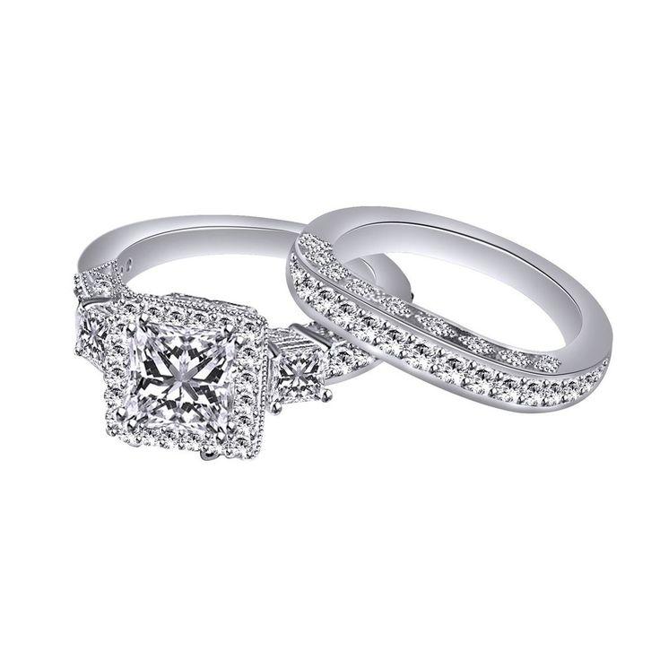 3.06Ct PRINCESS CUT ENGAGEMENT RING MATCHING BAND SILVER 10K 14K + BLACK DIAMOND #affinityfashionjewelry