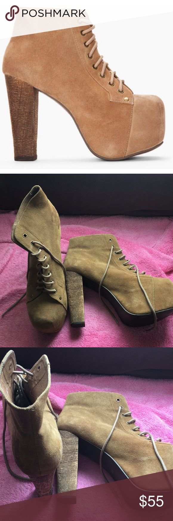 Jeffrey Campbell- Tan Lita These platform boots are too fun! Great tan color goes with so many outfits! Clean, gently worn condition.  Fits on the smaller side of 10 Jeffrey Campbell Shoes Ankle Boots & Booties