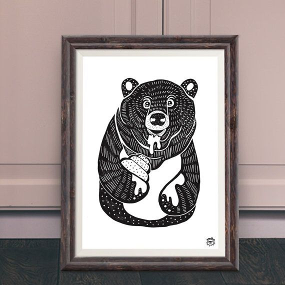 Bear and Honey A4 illustration print art bear animals by mmuffn