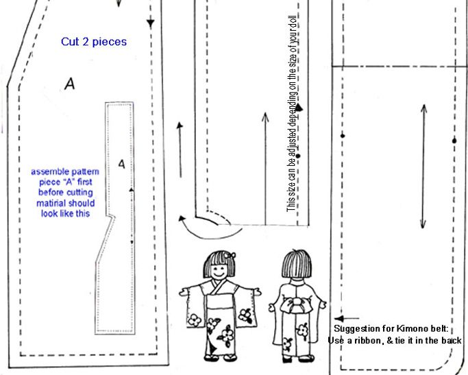 Free Doll Kimono Pattern Ag 18in Doll Clothes