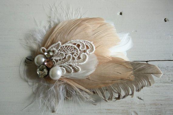 Peaches & Cream fascinator by pompandplumage on etsy $60