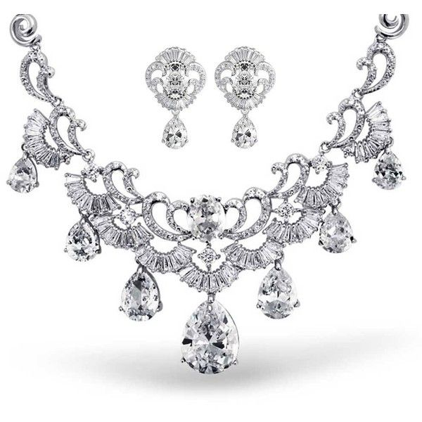 CZ Teardrop Vintage Style Statement Wedding Set Rhodium Plated | Bling... ($137) ❤ liked on Polyvore featuring jewelry, cubic zirconia jewelry, bridal jewellery, cz jewellery, wedding bridal jewelry and cz jewelry