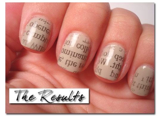 I love newspaper nails. the print on white looks great, but the transfer from the newspaper dulls the white and  makes them look a bit raggedy but the cream takes that awayNails Art, Nail Polish, Nailpolish, Rubs Alcohol, Rubbing Alcohol, Paint Nails, Newsprint Nails, Nails Polish, Newspaper Nails
