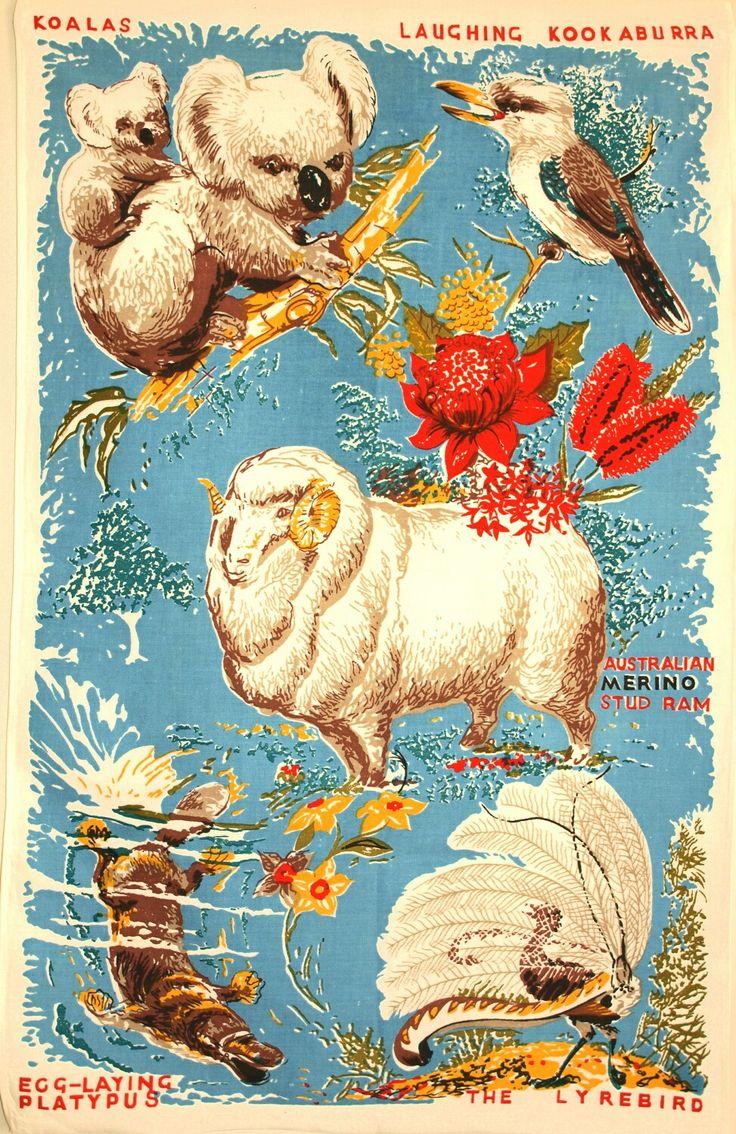 Vintage tea towel - Australian fauna