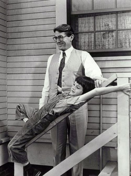 "Gregory Peck & Mary Badham in To Kill a Mockingbird (1962, dir. Robert Mulligan)  ""I put everything I had into it – all my feelings and everything I'd learned in 46 years of living, about family life and fathers and children. And my feelings about racial justice and inequality and opportunity.""  -Peck (1989)"