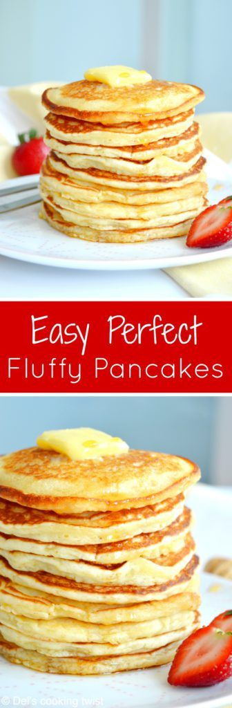 Back to basics today, with the easiest pancakes recipe ever. With only 6 ingredients and 2 minutes preparation, you get the perfect fluffy American pancakes for breakfast! | Del's cooking twist