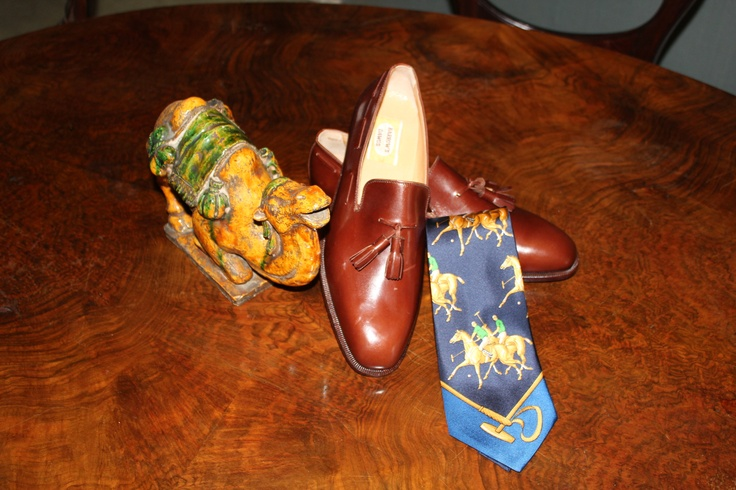 70s Brown English shoes with tassels silk tie