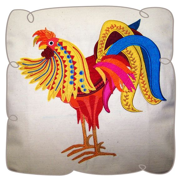 "Applique Barnyard Rooster 6 x 8"" Machine Embroidery design"