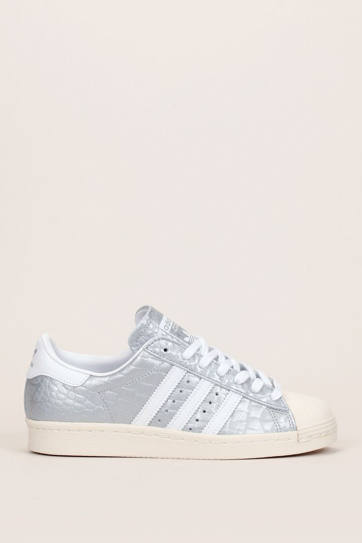 Sneakers cuir texturé argenté/blanc Superstar 80s W - Adidas Originals